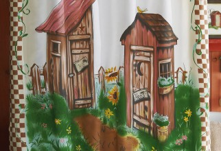 775x1001px Outhouse Shower Curtain Picture in Curtain