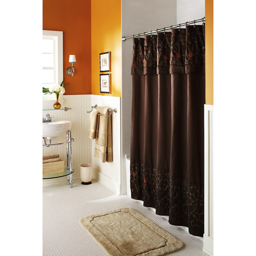 Brown And White Shower Curtain in Curtain