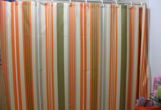 1066x800px Orange Striped Curtains Picture in Curtain