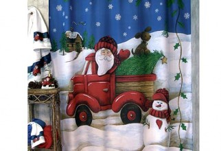 500x500px Santa Shower Curtain Picture in Curtain