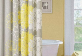 730x818px Yellow And White Shower Curtain Picture in Curtain