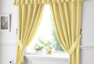 500x500px Yellow Gingham Curtains Picture in Curtain
