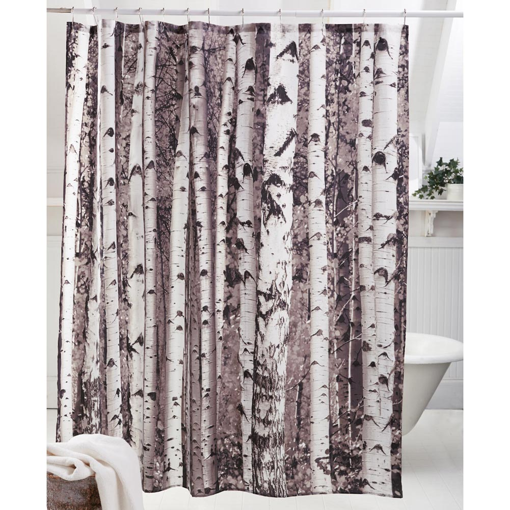 Birch Tree Shower Curtain in Curtain