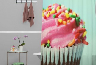 736x736px Cupcake Shower Curtain Picture in Curtain