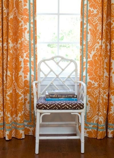 Orange Damask Curtains in Curtain
