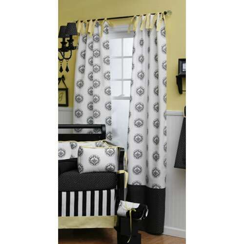 White Curtains With Black Trim in Curtain